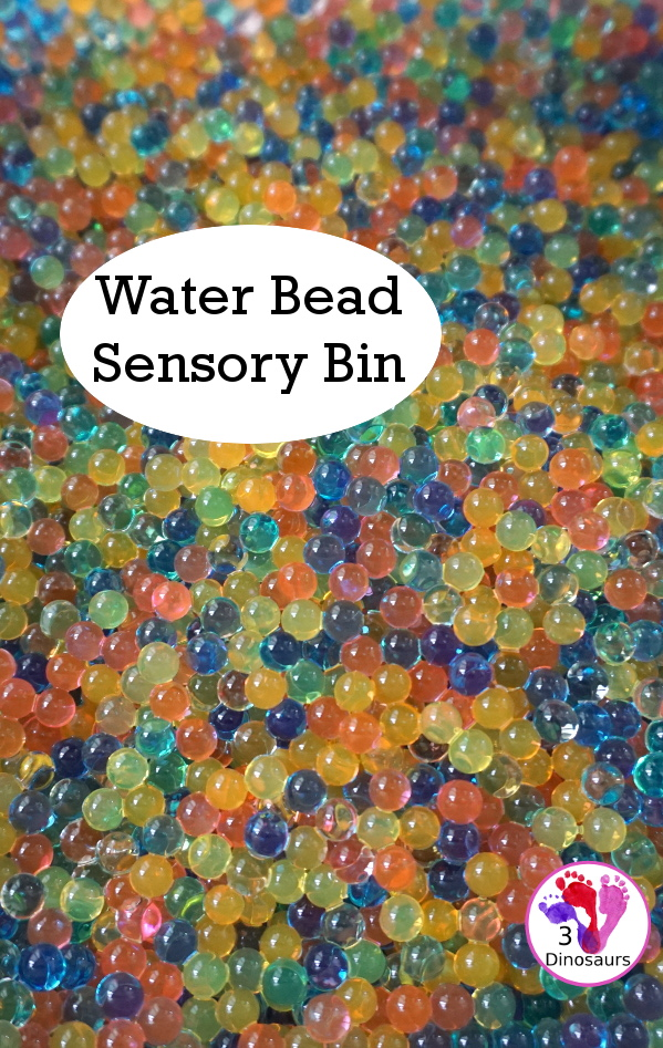 Water Beads Sensory Bin - easy to make sensory play with water beads for all year plus a few ways we use the water beads - 3Dinosaurs.com