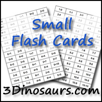 photograph about Free Printable Addition Flash Cards named 3 Dinosaurs - Reduced Addition andSubtraction Flashcards