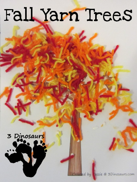fall tree craft ideas leaf yellow leaf yarn tree 3 dinosaurs 4427