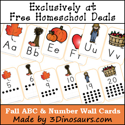 Free Fall ABC & Number Wall Cards