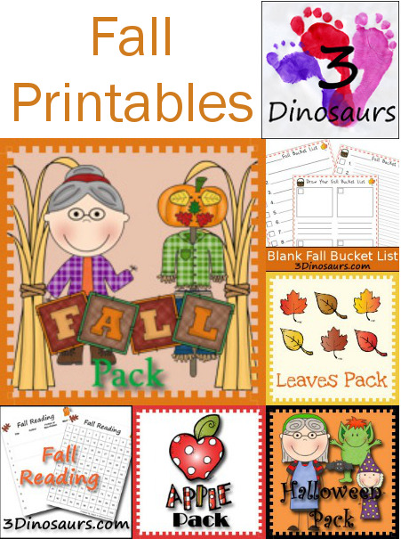 Round Up of Fall Printables on 3 Dinosaurs