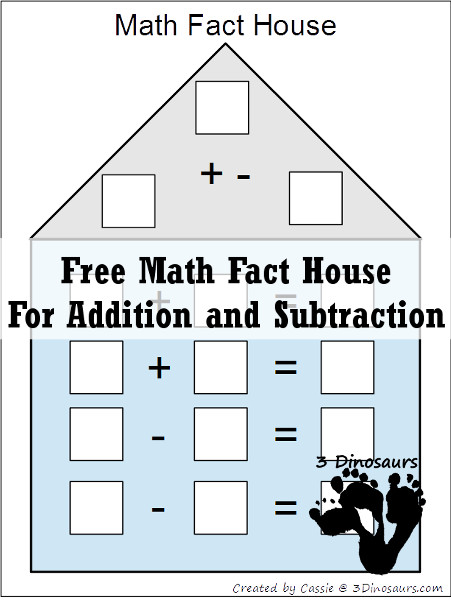 Free Math Fact House Addition & Subtraction - 3 Dinosaurs