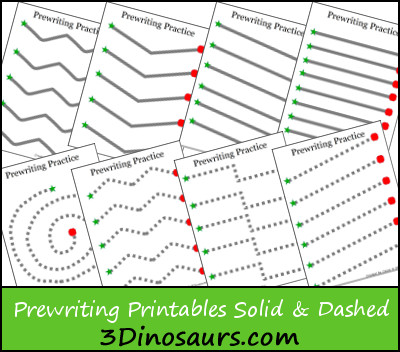 prewriting practice solid dashed printables 3 dinosaurs