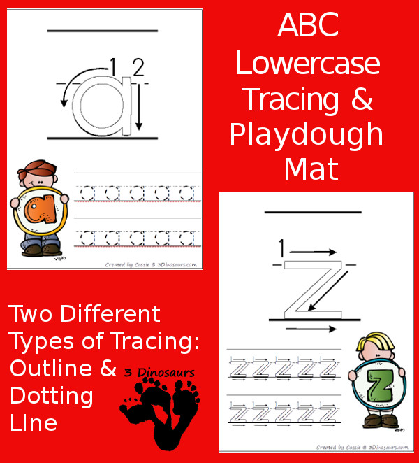 New Free ABC Lowercase Tracing Pages with Playdough Mats!