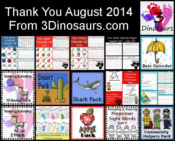 Thank You August 2014 - 3Dinosaurs.com