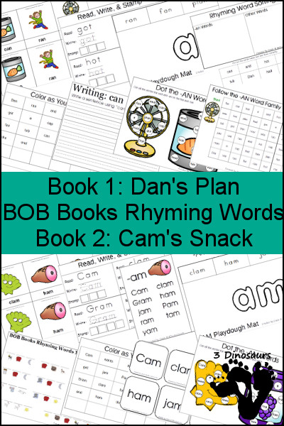Early Reading Printables BOB Books Rhyming Words: Books 1 & 2 - 3Dinosaurs.com