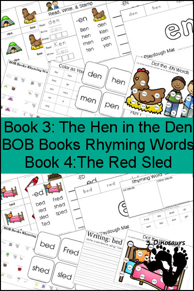 Early Reading Printables BOB Books Ryhming Words: Books 3 & 4 - 3Dinosaurs.com