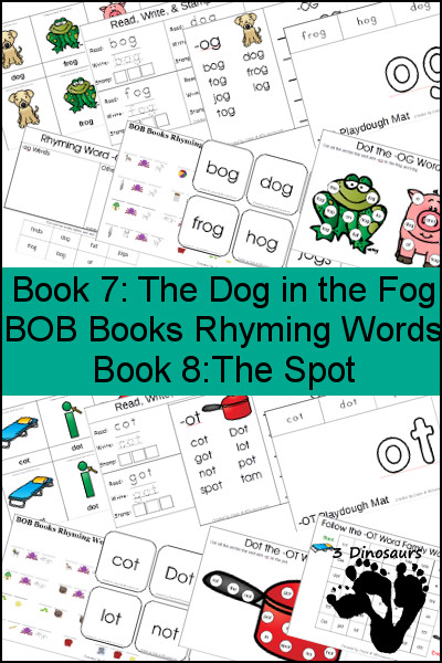 Early Reading Printables BOB Books Rhyming Words: Books 7 & 8 - 3Dinosaurs.com
