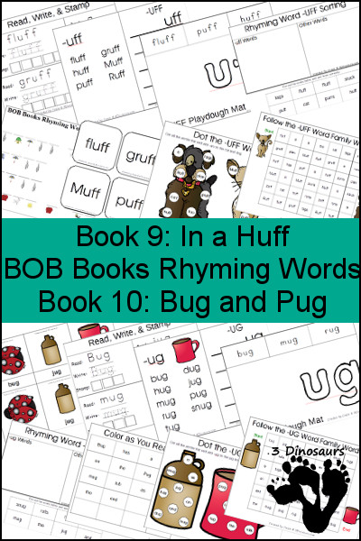 Early Reading Printables BOB Books Rhyming Words: Books 9 & 10 - 3Dinosaurs.com
