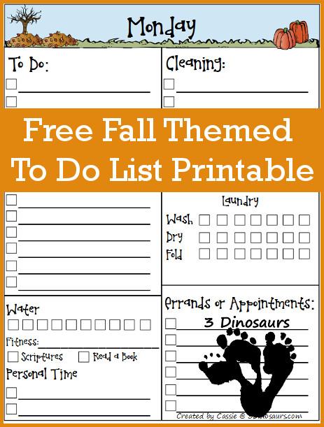 Free Fall Themed To Do List Printable - 3Dinosaurs.com