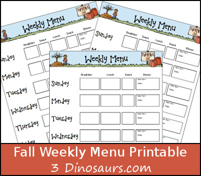 Free Fall Weekly Menu Printable - 3Dinosaurs.com