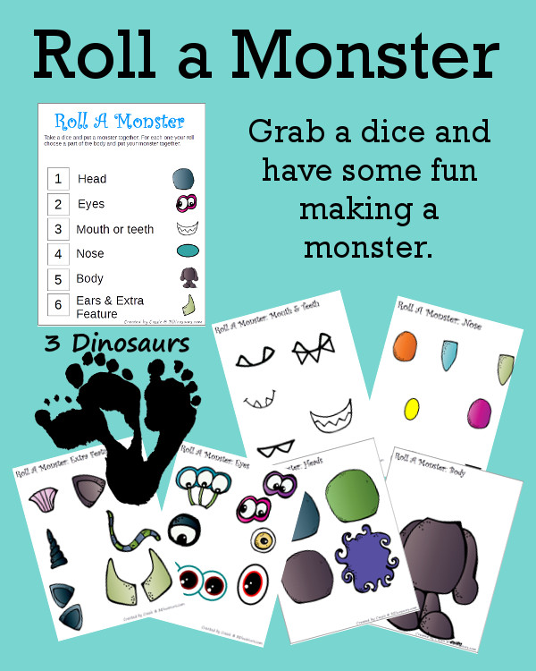 Free Roll A Monster Printable - 3Dinosaurs.com