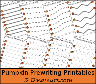 Free Pumpkin Prewriting Printables: dashed line, solid line, thick line dashed - 3Dinosaurs.com