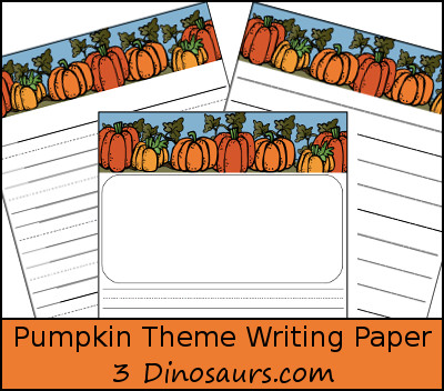 Free Pumpkin Themed Writing Paper - 3Dinosaurs.com