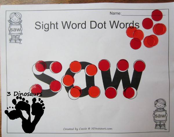 Romping & Roaring Primer Sight Words: Dot the Sight Word - 3Dinosaurs.com