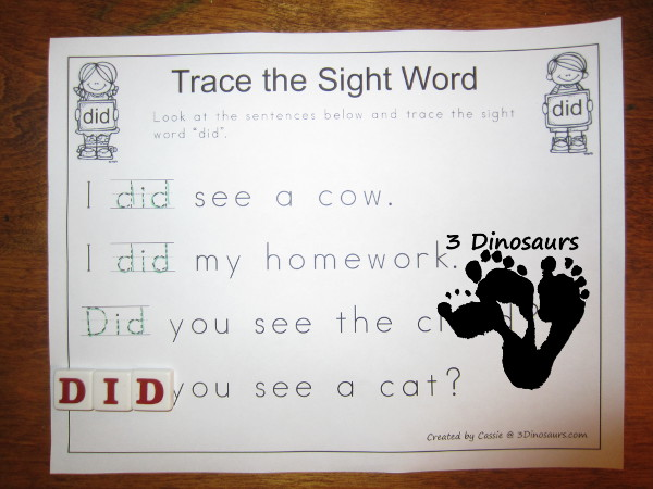 Romping & Roaring Primer Sight Words: Trace the Sight Word - 3Dinosaurs.com