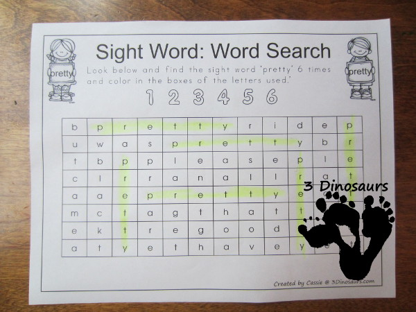 Romping & Roaring Primer Sight Words: Sight Word Word Search- 3Dinosaurs.com