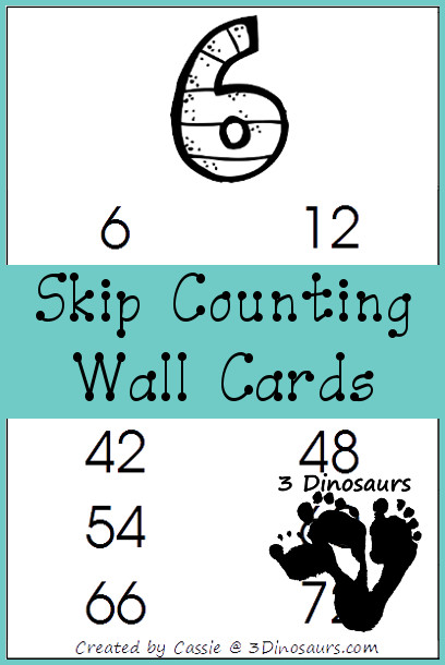 Skip Counting Wall Cards | 3 Dinosaurs