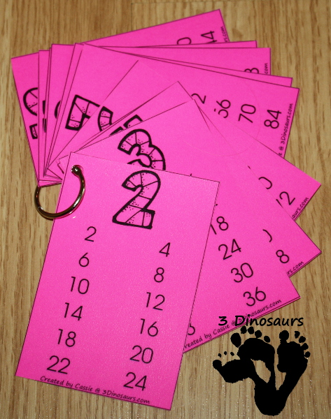Free Skip Counting Wall Cards - 3Dinosaurs.com