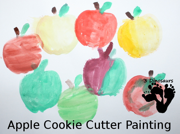 Apple Cookie Cutter Painting - An easy painting activity for various ages to do - 3Dinosaurs.com