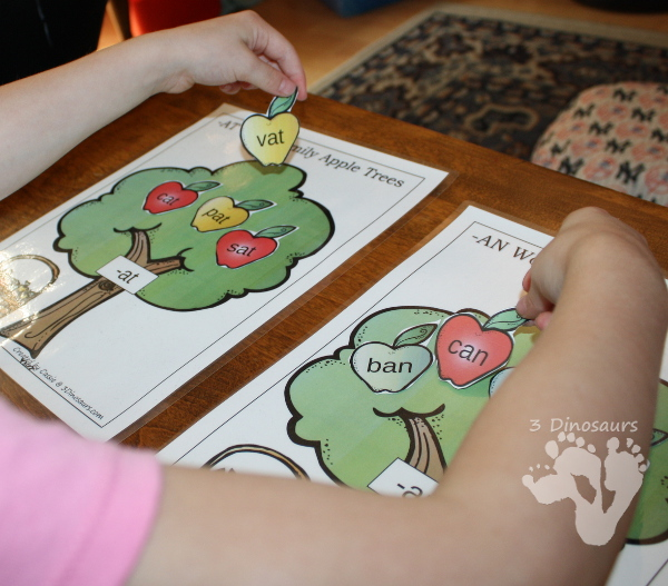 Apple Themed CVC Word Family Activities - wall charts, sorting mats, and writing activities  - 3Dinosaurs.com
