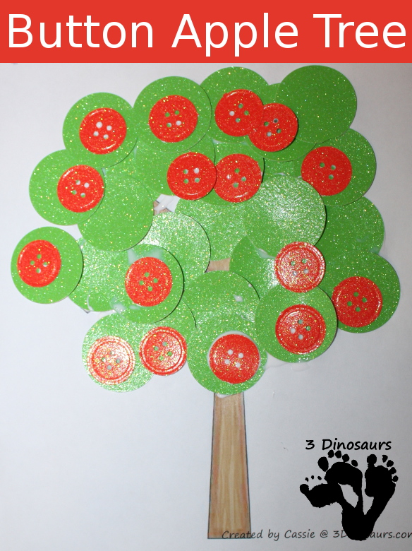 Button Apple Tree Craft  - 3Dinosaurs.com