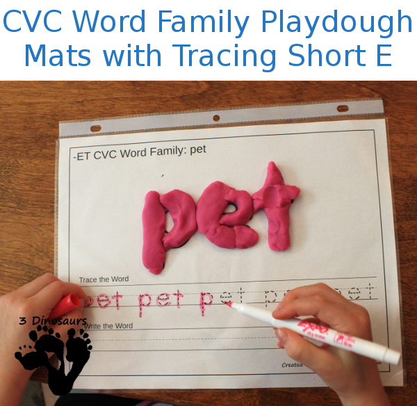 New CVC Word Family Playdough Mats With Tracing: Short E - 3Dinosaurs.com
