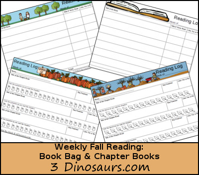 Free Weekly Fall 2015 Reading Charts: book bag and chapter books - apples, pumpkin and leaves themes  - 3Dinosaurs.com