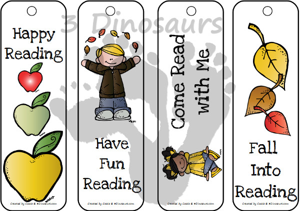 Free Fall Bookmarks for Kids  - 3Dinosaurs.com