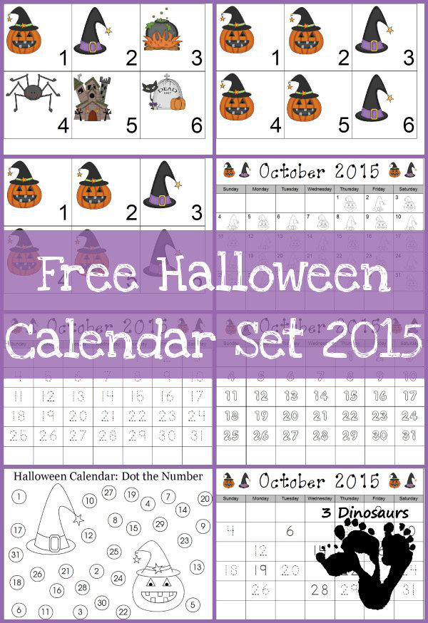 Free 2015 Halloween Calendar Set: 3 types of calendar cards: 6 images, AB pattern, and ABB October 2015 - single calendar pages: color the pattern, trace, color, Fill in and trace, and dot the number  - 3Dinosaurs.com