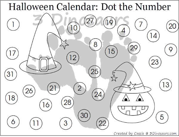 Free 2015 Halloween Calendar Set: 3 types of calendar cards: 6 images, AB pattern, and ABB October 2016 - single calendar pages: color the pattern, trace, color, Fill in and trace, and dot the number  - 3Dinosaurs.com