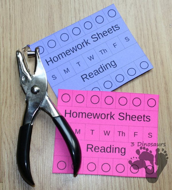 Managing Homework Ideas & Free Homework Punch Cards - 3Dinosaurs.com
