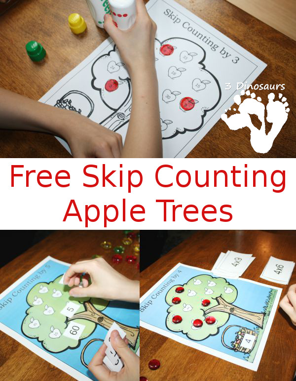 Free Skip Counting Apple Trees: Color or Black and white options  - 3Dinosaurs.com