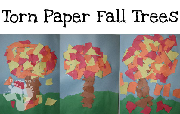 Torn Paper Fall Tree: great fine motor and craft together  - 3Dinosaurs.com