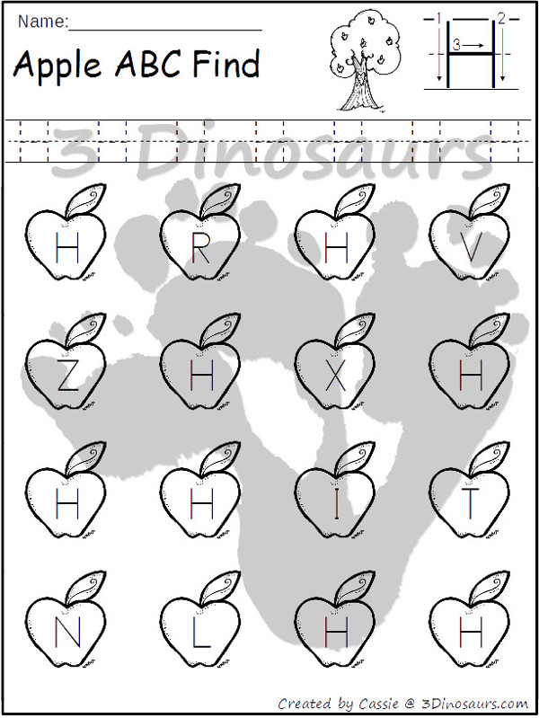 Apple Themed ABC Find: Uppercase or Lowercase with tracing $ - 3Dinosaurs.com