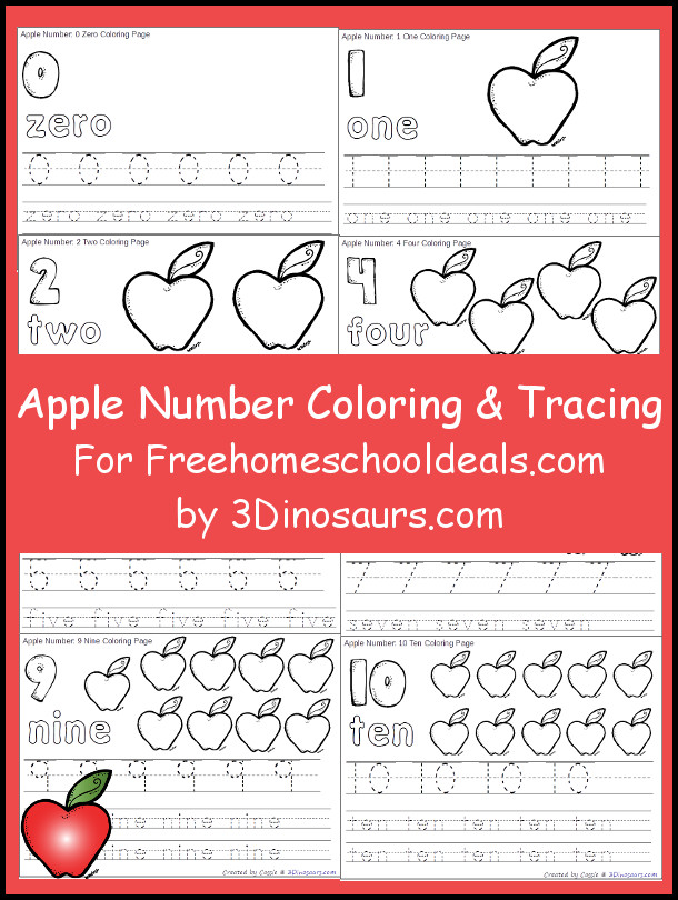Free Apple Number & Color Tracing Printable - 3Dinosaurs.com