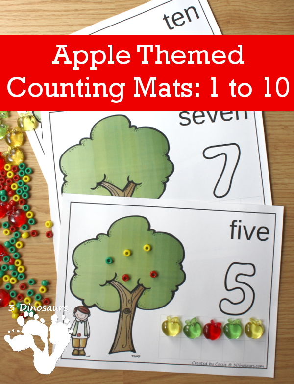 Free Apple Themed Counting Mats: Number 1 to 10 - 3Dinosaurs.com