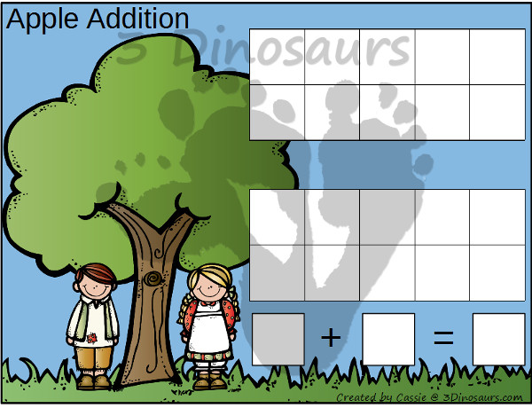 Free Apple Themed Addition & Subtraction Mats: adding or subtracting using numbers 1 to 10 - 3Dinosaurs.com