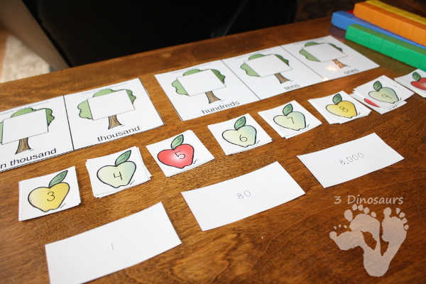Free Apple Themed Place Value Activity - ones through hundred billion with hands on mats and sheets to record information - 3Dinosaurs.com