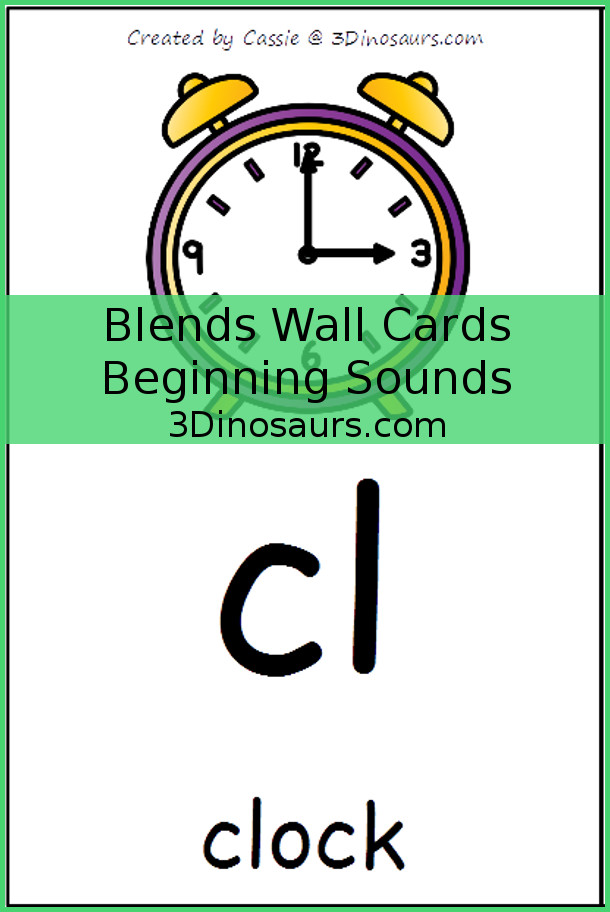 Free Blends Wall Cards: Beginning Sounds - 3Dinosaurs.com