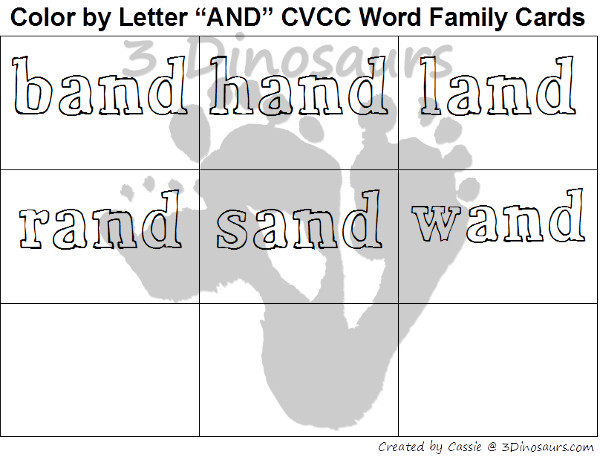 Free CVCC Word Family Color by Letter: -AND, -END, -IND, & -OND - 3Dinosaurs.com