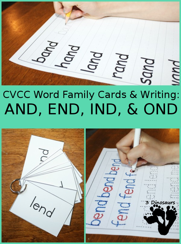 Free CVCC Word Family Cards & Writing - AND, END, IND, & OND - 3Dinosaurs.com