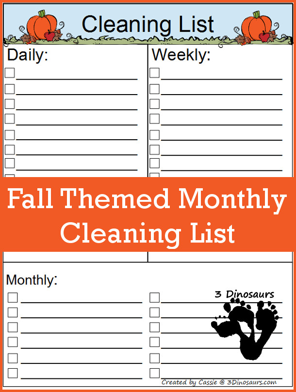 October 2016 Monthly Goals With Free Fall Themed Monthly Cleaning List - 3Dinosaurs.com