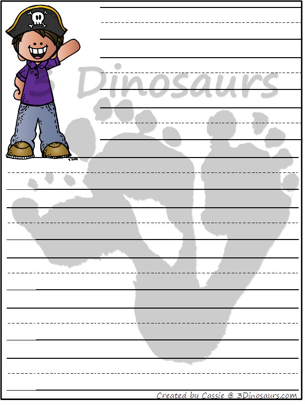 Free Pirate Themed Writing paper - 8 different images and 4 page types to use with kids - 3Dinosaurs.com