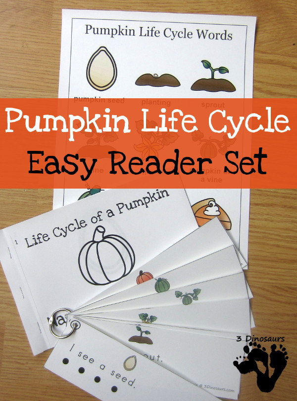 Pumpkin Life Cycle Easy Reader Set-  $ 4 different book options plus reading strips that match 2 of the books - 3Dinosaurs.com