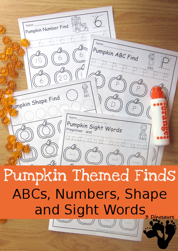 Pumpkin ABC Letter, Number, Shapes, and Sight Words Find - easy no prep printables $ - 3Dinosaurs.com