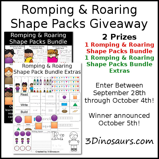 Romping & Roaring Shape Packs Giveaway - 3Dinosaurs.com