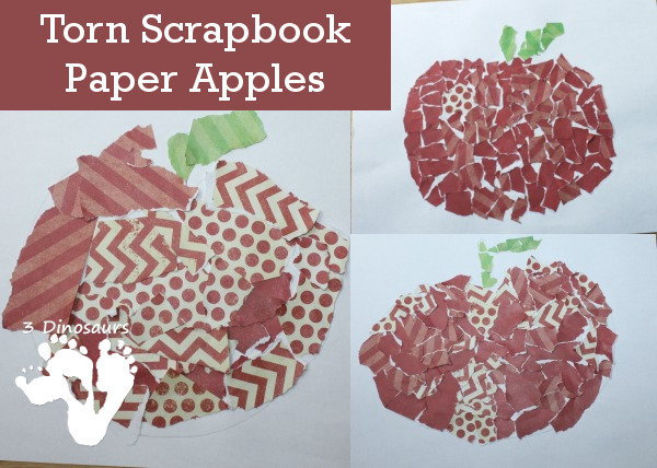 Torn Scrapbook Paper Apple - easy and fun craft you can do with many ages - 3Dinosaurs.com