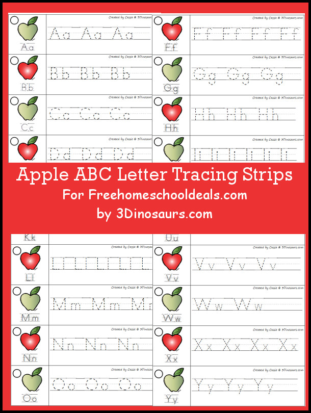 Free Apple Theme ABC Tracing Strips - with uppercase and lowercase together - 3Dinosaurs.com