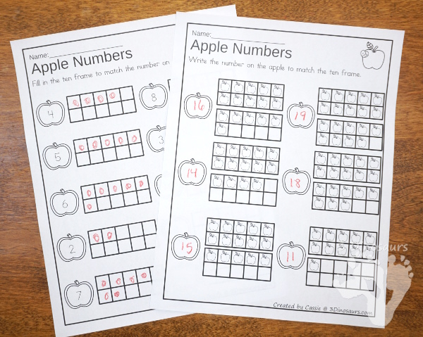 Pumpkin and Apple Themed Ten Frame Printables: No-Prep & Hands-On - 168 pages of printables working on ten frame activities for numbers 1 to 20 with hands-on and no-prep: cards, worksheets and easy reader books. - 3Dinosaurs.com